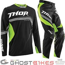 THOR CORE 2015 BEND BLACK FLUORESCENT GREEN MX JERSEY AND PANTS MOTOCROSS KIT