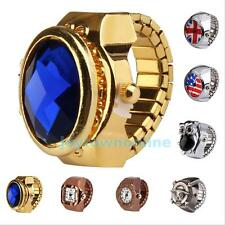 Fashion Hot Stretch Elastic Gold Silver Tone Mini Quartz Watch Finger Ring #JT1