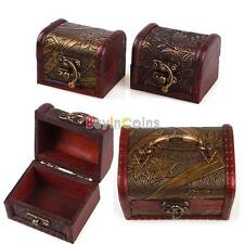 Hot Portable S M Size Retro Necklace Watch Storage Wood Box Case Jewelry Display
