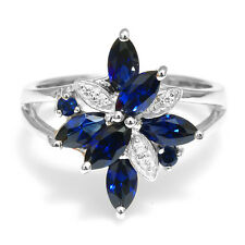 4ct UNIQUE Sapphire Cocktail Ring 925 Sterling Silver Size 6 7 8 9