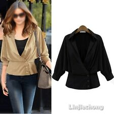 Women Button Hiphoop Casual Solid Khaki Short Long Sleeve Jacket Blouse Cardigan