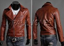 IN US CHEAPEST Men's slim Fit Faux Leather Coat Motorcycle Outerwear Jackets HOT