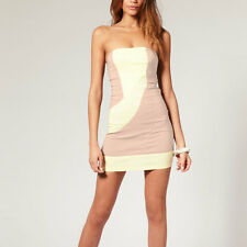 Fitted Strapless Bodycon Cocktail Party Clubwear Mini Dress co9660 Apricot