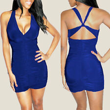 Sexy Sleeveless Crossover Night Party Clubwear Mini Dress co9752 Royal Blue