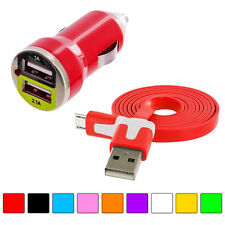 Flat Noodle Micro USB Data 3FT Cable+2A Dual Rapid Car Charger for Phones