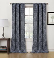 "Blackout Curtain Drapery Panel ""Phelan"" Pair 80 x 84 Grommet Damask Energy Saver"