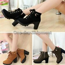 Women Lace Up Ankle Boots Platform PU High Heel Punk Buckle Shoes Lady Pumps New