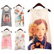 Womens Girls Cute Printed Chiffon Vest Sleeveless Tank Top Shirt T Shirt Blouse