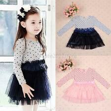 Kids Girls Lace Tutu Dress Long Sleeve Polka Dot Princess Dress Skirt Party A80