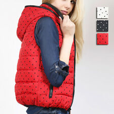 Women Girl's New Hooded Waistcoat Vest Dot Pattern Zipper Jackets Outwear XM0012