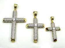 S M L Mens Ladies 10k Yellow Real Gold Tube Cylinder Shape Cross Hip Hop Pendant