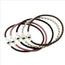 Genuine Leather 925 Sterling Silver European Bracelet For Charm Beads