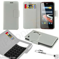 White Leather Suction Wallet Flip Mobile Phone Case For Various Acer Models