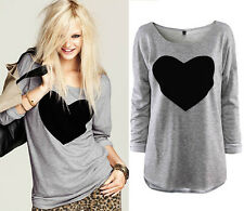 Womens Round Neck Love Heart Printed Long Sleeve T-shirt Tops Blouse,Fashion