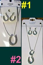 Horseshoe SET Necklace Earring Jewelry Western Cowgirl Sport School Women Horse