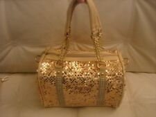 NEW GOLD SEQUIN PURSE BLING SPARKLE STUDS GOLD HARDWARE FABRIC LEATHER