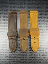 New 24mm Genuine Leather Strap Brown Tang Assolutamente Watch Band for PANERAI