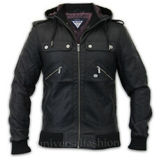 Mens Leather Look Jackets Threadbare Coat Military Zip Hooded Lined, Winter, New