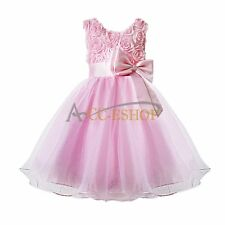 3D Rose Flower Girls Party Pageant Wedding Bridesmaid Birthday Tulle Tutu Dress