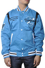 Track Coach Jacket Athletic Champion Letterman Sport Snap Button Patch Aqua