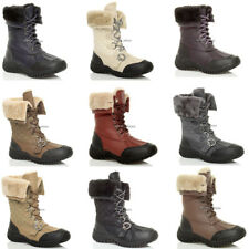 WOMENS LADIES LOW HEEL FLAT WINTER SNOW WINTER LACE UP FUR CALF BOOTS SIZE