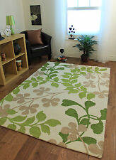 Small Large Modern Thick Green Cream Beige Leaf Design Quality Wool Rugs Online