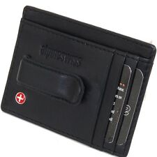 New Leather Mens Money Clip Spring Clip Front Pocket Wallet by Alpine Swiss Thin