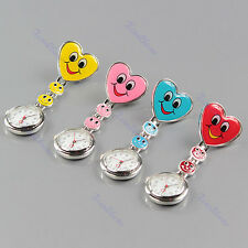 Heart Shape Smile Face Fobwatch Nurse Clip On Fob Brooch Hanging Pocket Watch