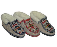 LADIES ANKLE SLIPPER BOOTS SIZES 3/4, 5/6, 7/8  KNITTED FUR CUFF