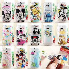New 0.3mm Thin Disney Crystal Clear Soft Rubber Case Cover For HTC One 2 M8 2014