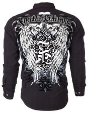 Xtreme Couture AFFLICTION Men BUTTON DOWN Shirt SKULL WINGS Roar UFC M-XXL $78 a