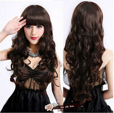 Women Lady Long Curly Wavy Hair Full Wigs With Bangs 3 Color Anime Cosplay Party