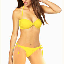 Ruched Halter Strapless Bandeau Top Bottom Bikini Swimwear Swimsuit Yellow