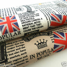 per fat quarter musical newspaper union jacks fabric  100% cotton 18 x 22 ""