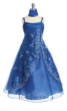 New Flower Girls Royal Blue Dress w/ Scarf Pageant Party Easter Christmas CB2410