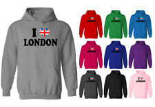 Womens I Love London Union Jack Heart Flag Pullover Hoodie NEW UK 12-20