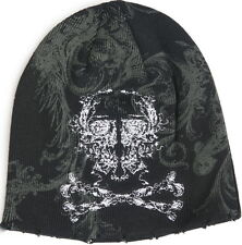 Sinful AFFLICTION Womens BEANIE Cap Hat SKULL CROSS BONES Tattoo Snow Winter $50