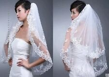 2T White/Ivory Lace edge Wedding Dream Bride Veil Comb with Bridal Accessories