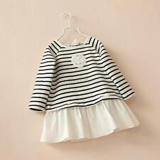 Baby Girls Long Sleeve Blouse Tops T-shirts Striped Ruffled Hem Clothes 2-6Y O57