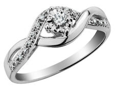 1/10 Carat (ctw) Diamond Engagement Ring and Wedding Band in Sterling Silver