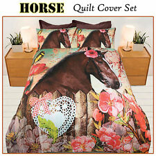 Springtime Horse Quilt Doona Cover Set - SINGLE DOUBLE QUEEN