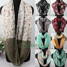 Fashion Womens Patterns Print Infinity Loop Cowl Circle Casual Voile Scarf Shawl
