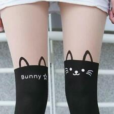 Spandex Sheer Opaque Cute Kitty Bunny Cat Faux Stockings Pantyhose Tights Slim