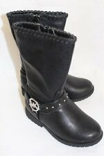 NIB MICHAEL KORS CARLITA BLACK BOOTS STUDDED GIRLS SZ 1-5