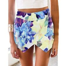 Women Summer Pleated Floral Culottes Shorts Skort Mini Skirt Hot Pants W3LE