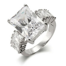 Stunning Emerald Cut CZ Engagement Ring with  Baguettes