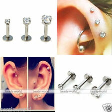 CZ Round Tragus Lip Ring Monroe Ear Triple Cartilage Helix Stud Earring 2/3/4mm