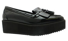 Heart & Sole Women's Black Patent Platform Heel Tassel Loafer Style Creepers New