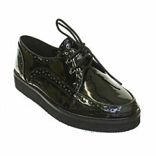 WOMENS BLACK PATENT LACE UP RETRO ROCKER BROTHEL CREEPERS LADIES SHOES SIZE 3-8