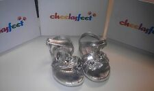 Girls Silver Butterfly Sandals with Velcro Fastening - all sizes